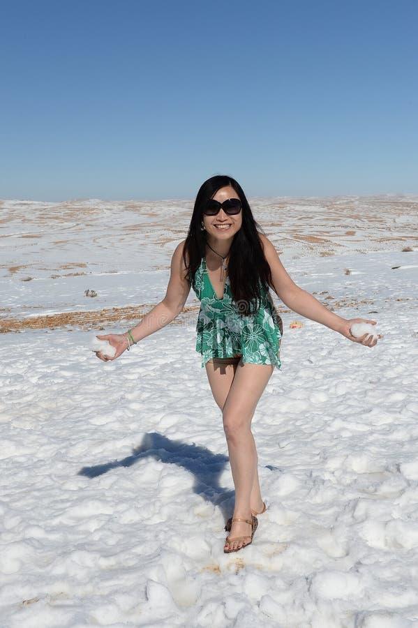 Vrouw in de sneeuw stock fotografie