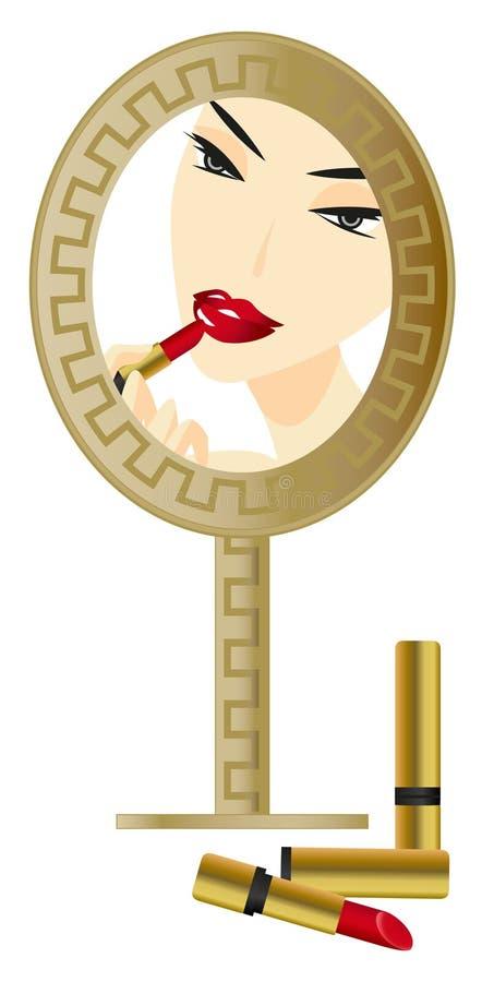 Vrouw in de Spiegel stock illustratie