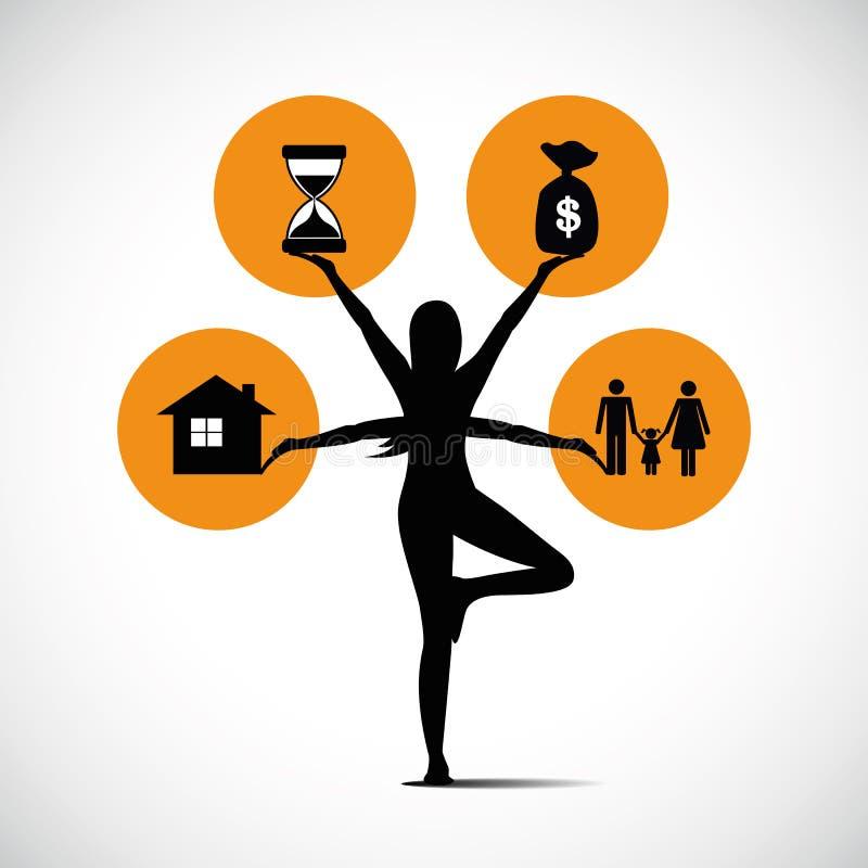 Vrouw de status in yoga stellen en het in evenwicht brengen tussen het geld van de familietijd en baan royalty-vrije illustratie