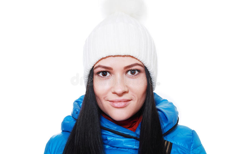 Vrouw in de winterhoed stock afbeeldingen