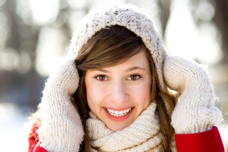 Vrouw in de winterscène stock afbeeldingen