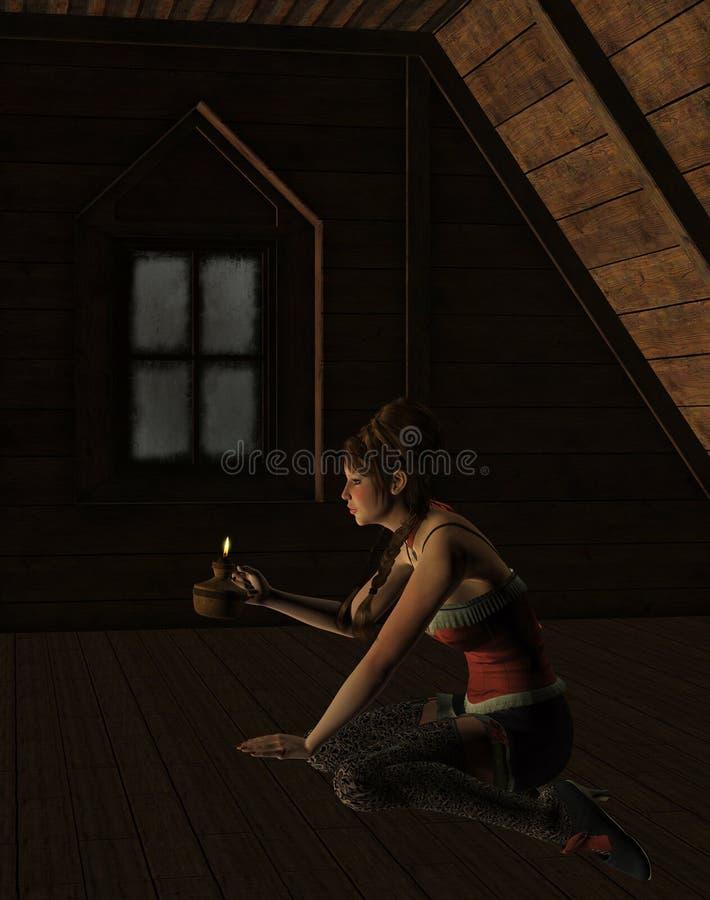 Vrouw in de zolder stock illustratie
