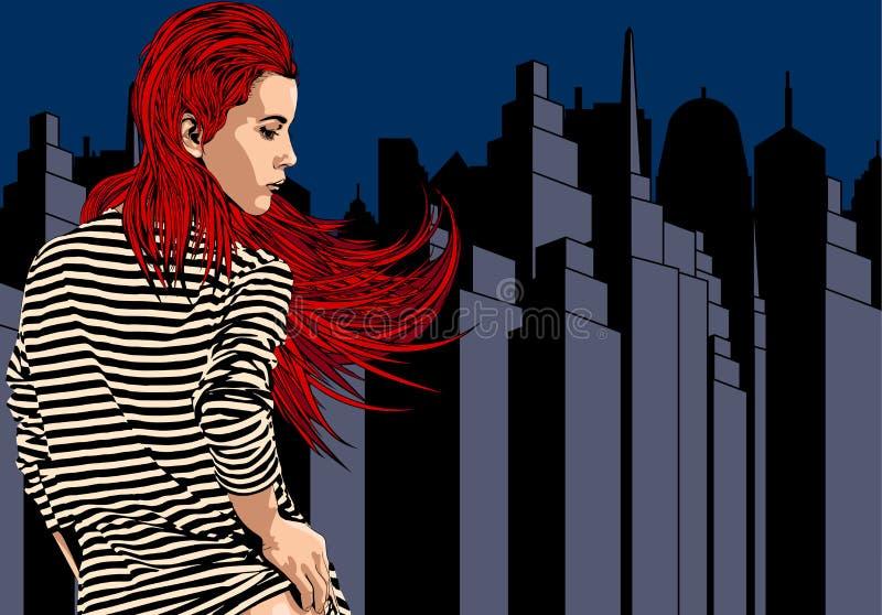 Vrouw dichtbij venster met mening over de nachtstad Lang rood haar Vector beeld royalty-vrije illustratie