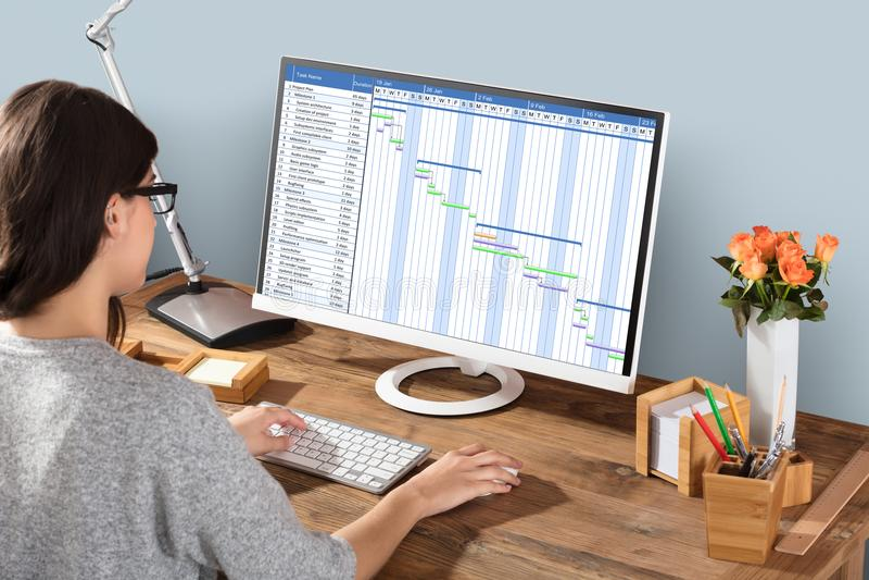 Vrouw die aan Gantt Grafiek werken die Computer met behulp van stock afbeeldingen