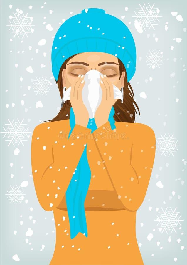 Vrouw die aan griep en lopende neus lijden stock illustratie