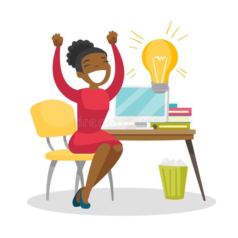 Vrouw die aan laptop op een nieuw bedrijfsidee werken royalty-vrije illustratie
