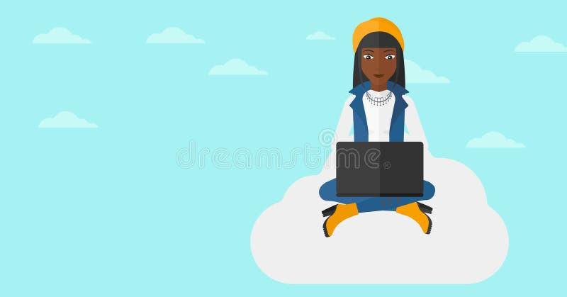 Vrouw die aan laptop werkt stock illustratie