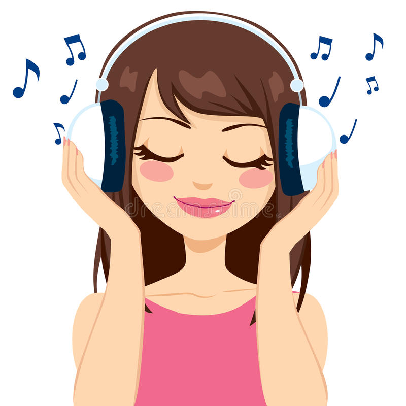 Vrouw die aan Muziek luisteren vector illustratie