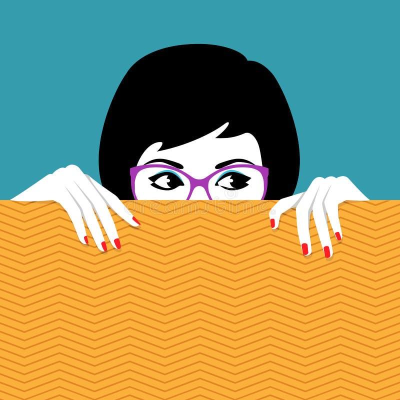 Vrouw die achter muur het letten verbergen op stock illustratie