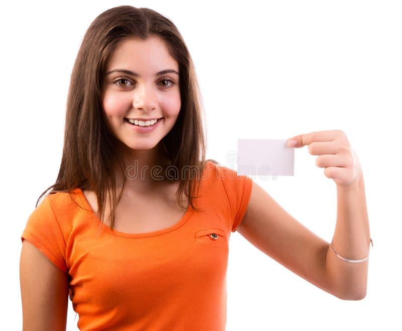 Vrouw die adreskaartje tonen royalty-vrije stock afbeeldingen