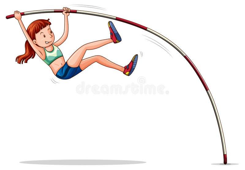 Vrouw die athelete polsstokspringen doen vector illustratie