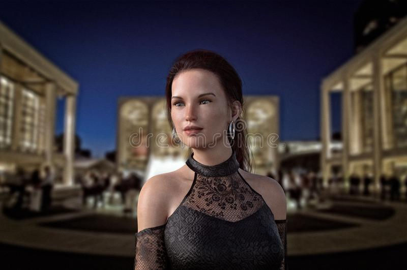 Vrouw die in avondtoga van Lincoln Center genieten bij nacht stock illustratie