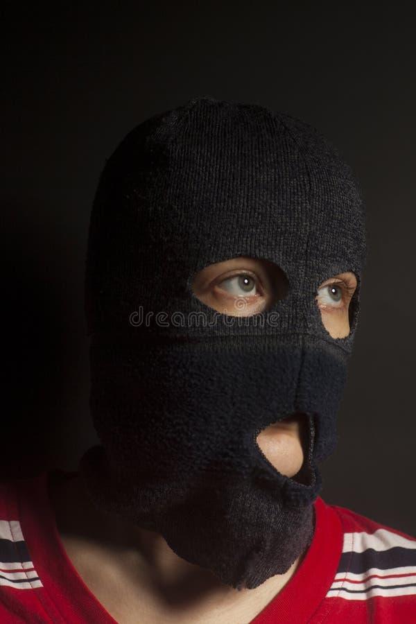 Vrouw die in balaclava dragen royalty-vrije stock foto