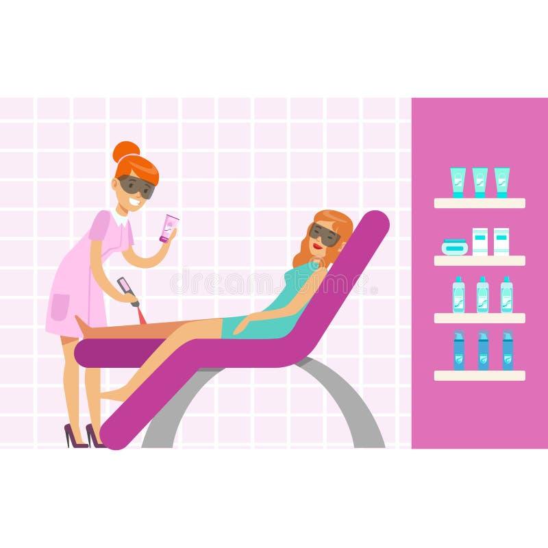 Vrouw die benenepilation met de verwijderingsmateriaal van het laserhaar hebben De kleurrijke vectorillustratie van het beeldverh stock illustratie