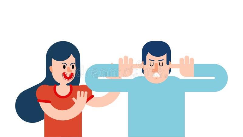 Vrouw die bij de mens gilt De mens behandelde zijn oren en sloot zijn ogen De kerel spreekt niet beledigd vector illustratie