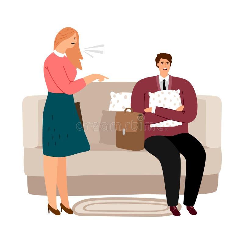Vrouw die bij de mens gilt Huiselijk geweld, het misbruiken vectorconcept royalty-vrije illustratie
