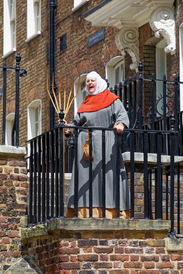 Vrouw die bij de Toren van Londen schreeuwen royalty-vrije stock afbeelding