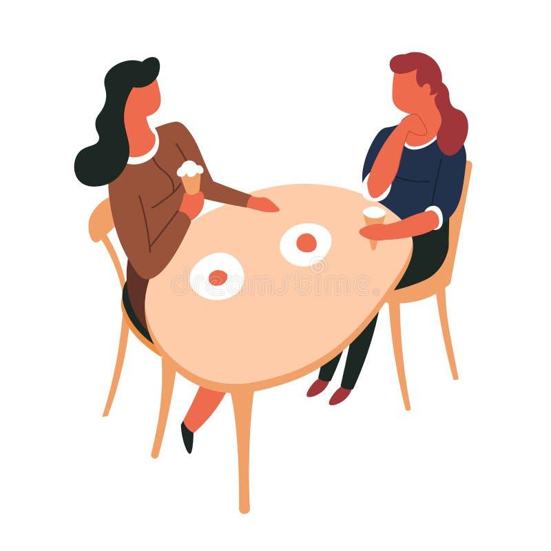 Vrouw die bij het voedsel van de lijststraat het dessert van de roomijszomer eten vector illustratie