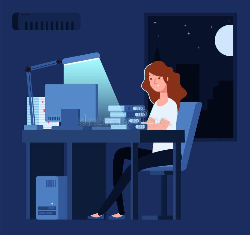 Vrouw die bij nacht werkt De ongelukkige beklemtoonde vrouwelijke recente harde werken in bureau met documenten en computer vecto vector illustratie