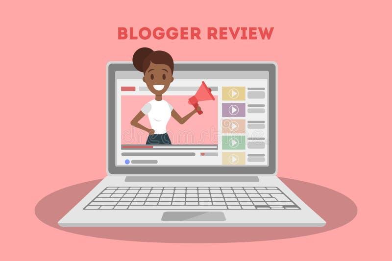 Vrouw die blogger een overzicht maken vector illustratie