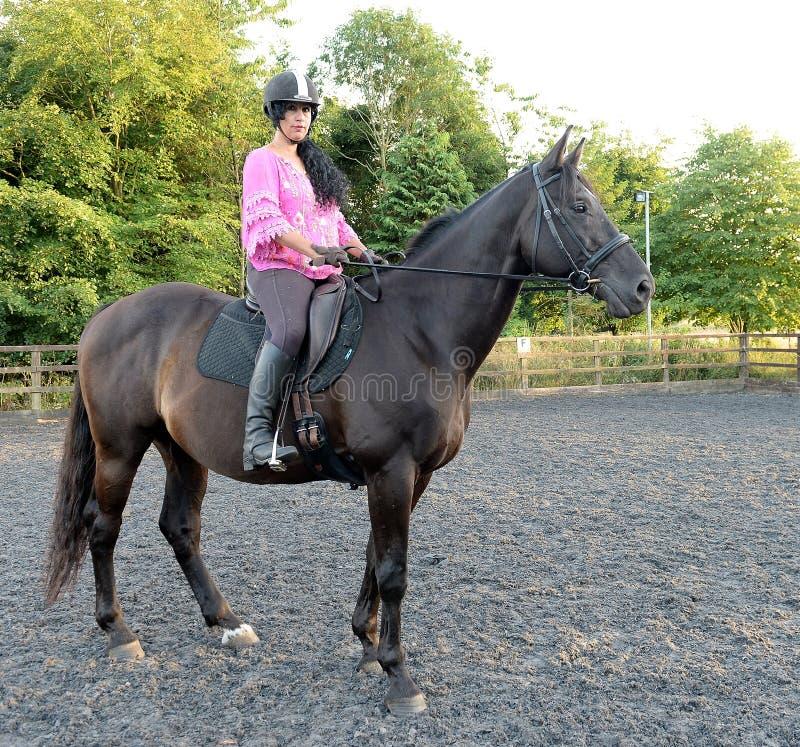 Vrouw die bruin paard berijdt royalty-vrije stock foto's