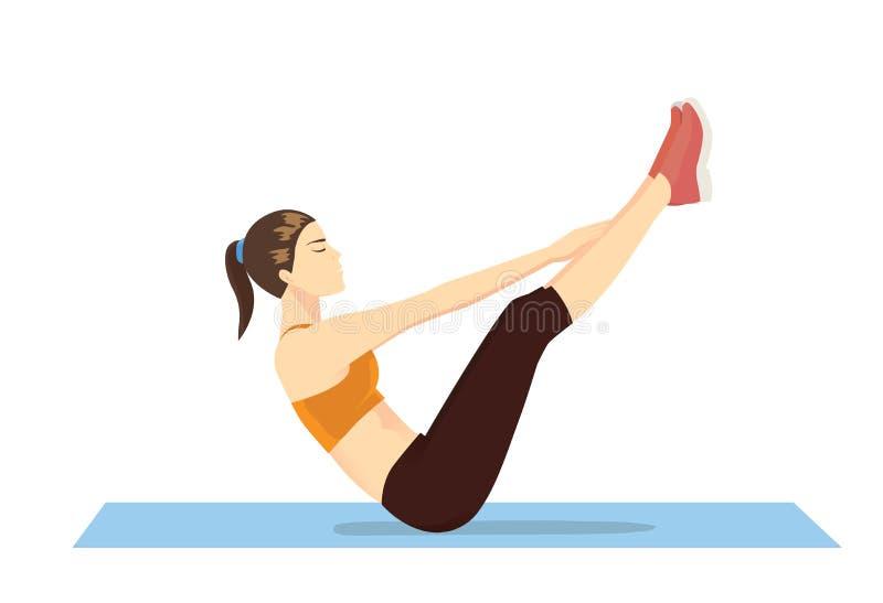 Vrouw die buiktraining met oefening v-UPS doen stock illustratie