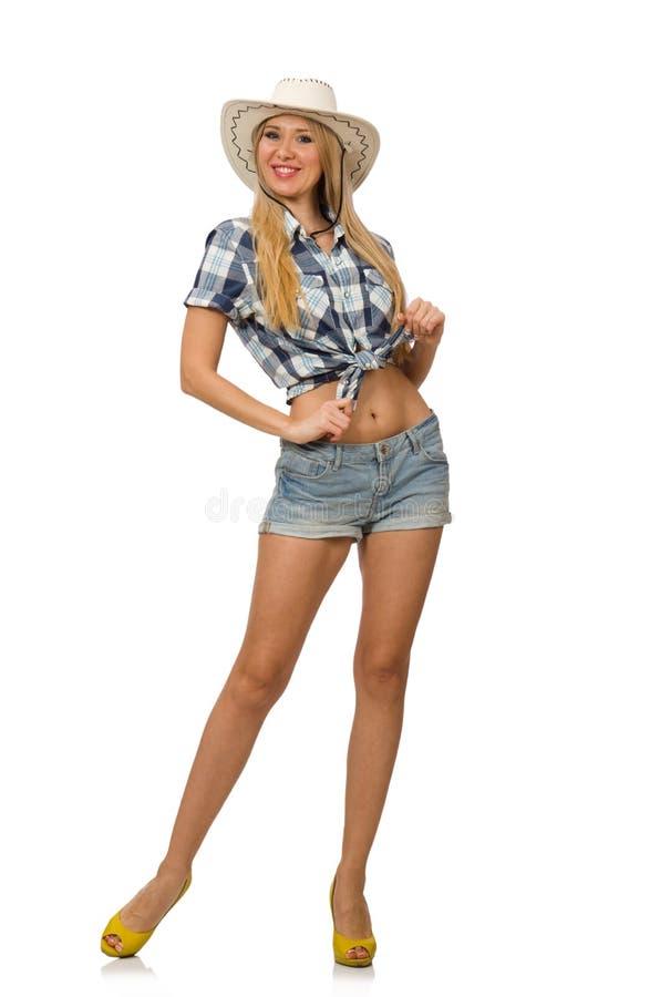 Vrouw die cowboyhoed draagt stock foto's