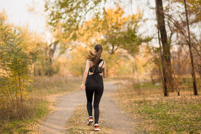 Vrouw die in de bos Gezonde levensstijl van de de herfstdaling lopen stock afbeeldingen