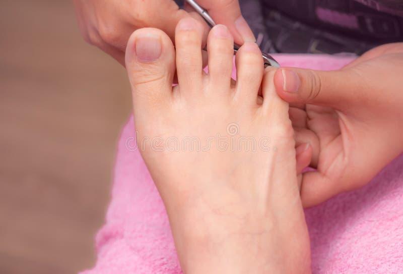 Vrouw die de dienst van de teennagelpedicure ontvangen door professionele pedicure bij spijkersalon En clipper die van het schoon royalty-vrije stock foto's