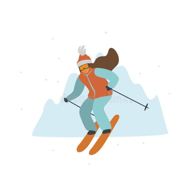 Vrouw die in de geïsoleerde vectorillustratie van de winterbergen toevlucht ski?en vector illustratie