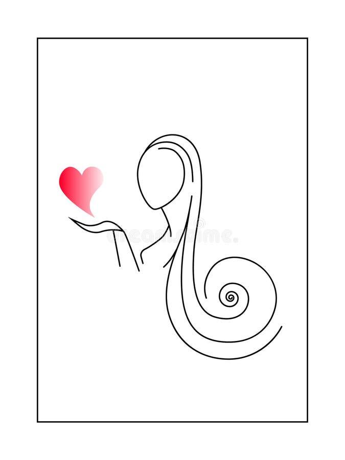 Vrouw die de liefde brengen vector illustratie