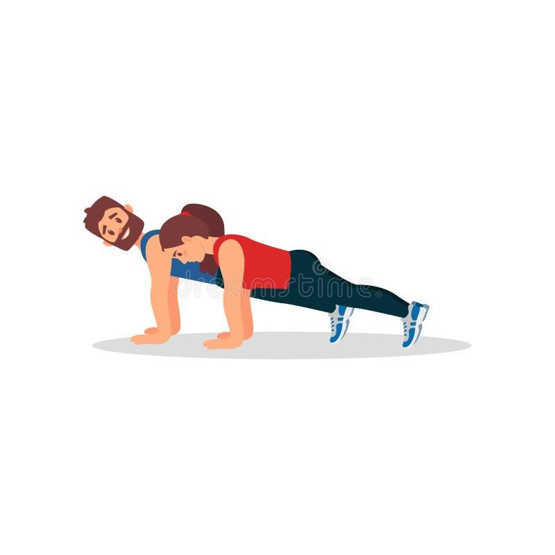 Vrouw die de oefening van de plankpers met haar persoonlijke trainer doen Fysische activiteit Kleurrijk vlak vectorontwerp royalty-vrije illustratie