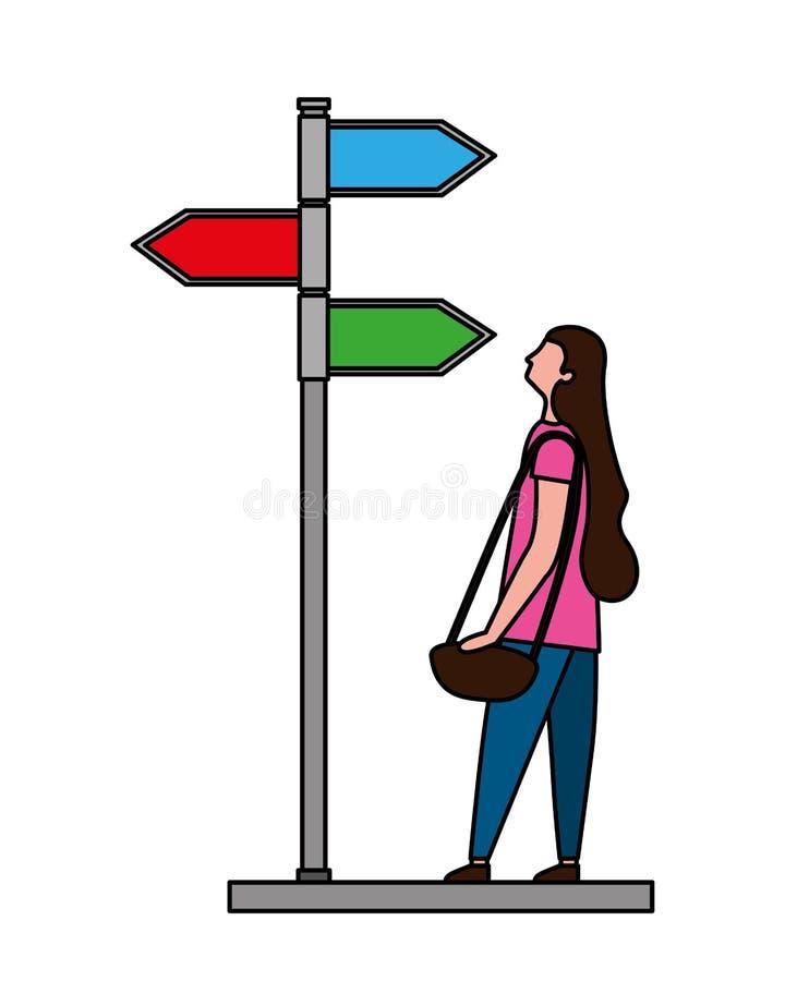 Vrouw die de plaats van de richtingspijl kijken royalty-vrije illustratie