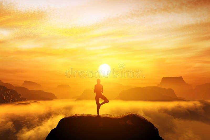 Vrouw die in de positie van de boomyoga mediteren stock afbeelding