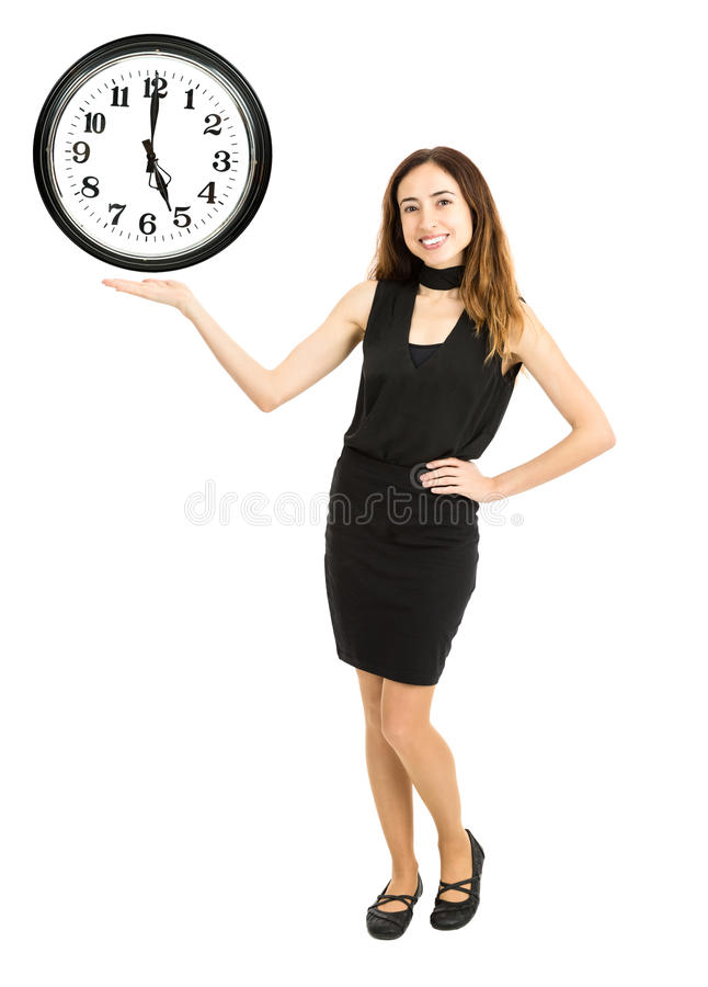 Vrouw die de tijd op de klok tonen stock foto