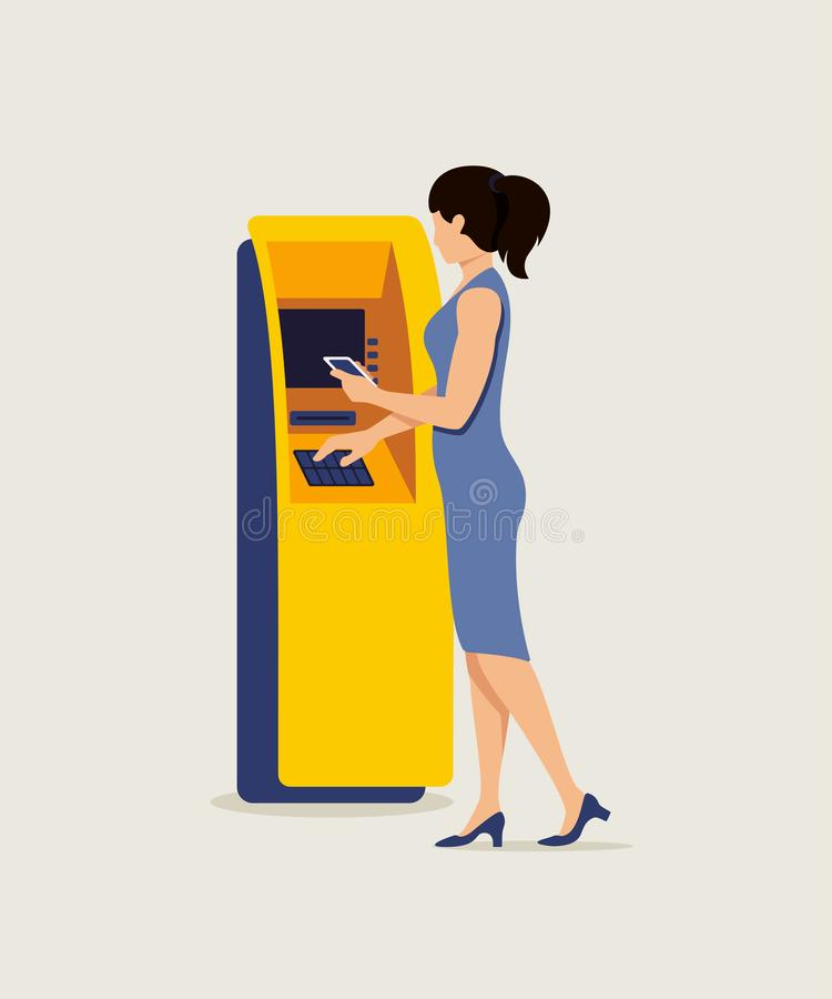 Vrouw die de vectorillustratie van ATM en van smartphone gebruiken vector illustratie