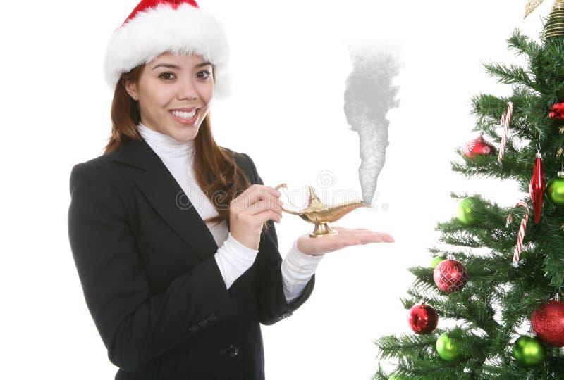 Vrouw die de wens van Kerstmis maakt royalty-vrije stock afbeeldingen