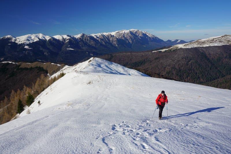 Vrouw die in de winter wandelt stock foto