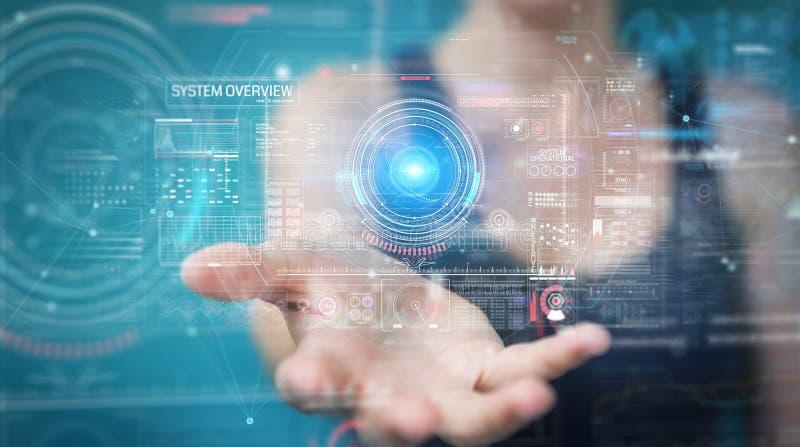 Vrouw die digitale technologische interface met datas het 3D teruggeven gebruiken stock illustratie