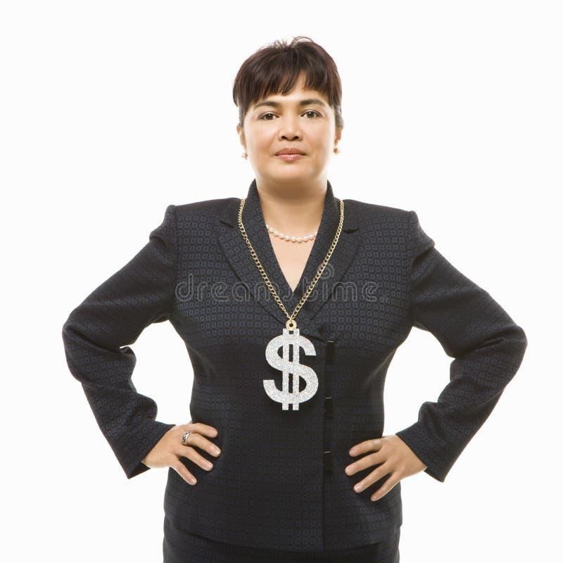 Vrouw die dollarteken draagt stock afbeeldingen
