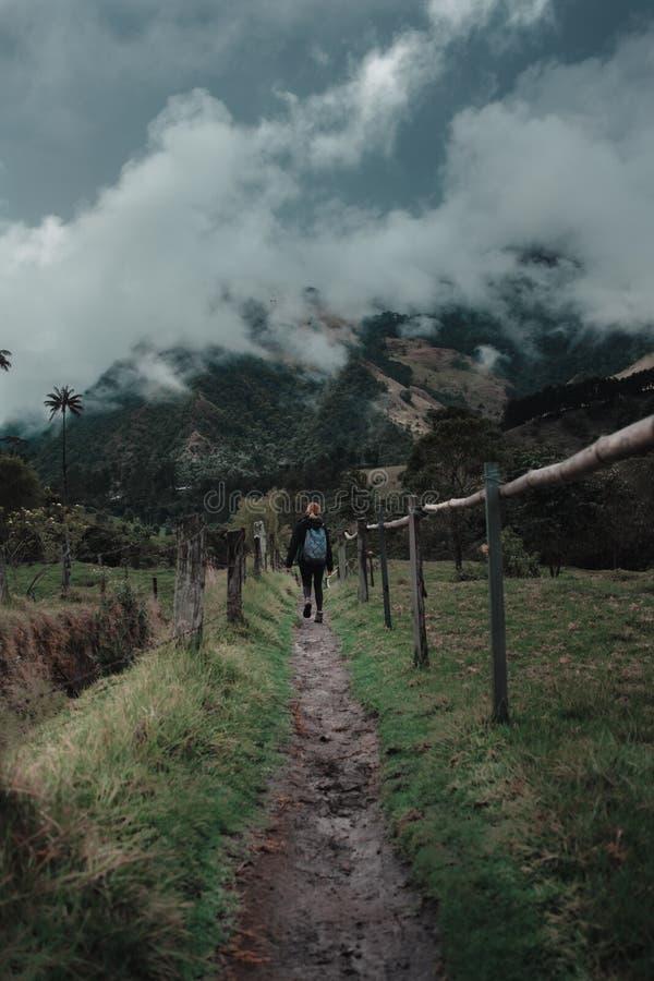 Vrouw die door een bergachtig gebied wandelen royalty-vrije stock foto's