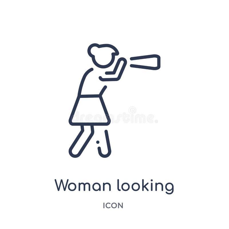 vrouw die door een kijkerpictogram kijken van de inzameling van het mensenoverzicht Dunne lijnvrouw die door een kijkerpictogram  vector illustratie