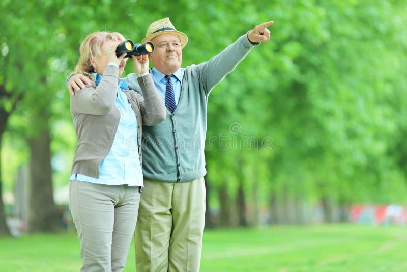 Vrouw die door verrekijkers met haar echtgenoot kijken royalty-vrije stock afbeeldingen