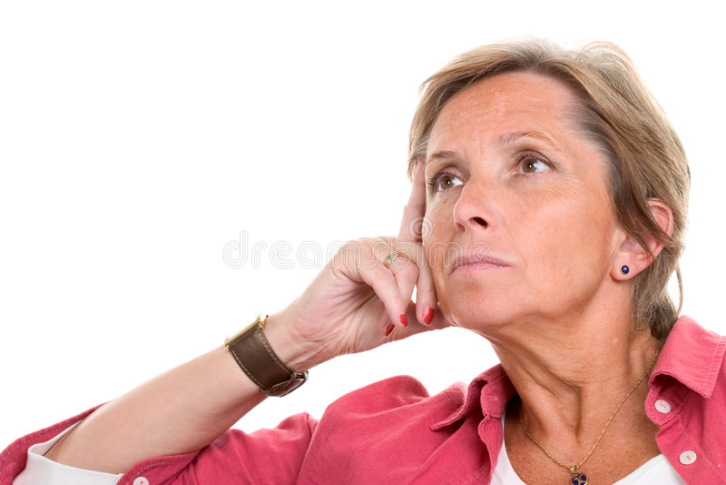 Vrouw die droevig kijkt stock afbeelding