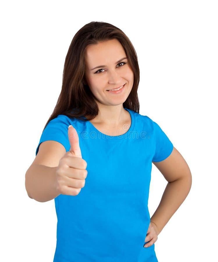 Vrouw die duim tonen royalty-vrije stock foto
