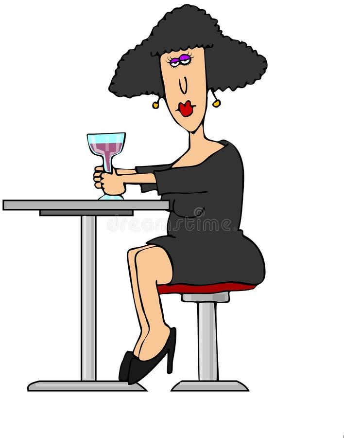 Vrouw die een alleen drank hebben royalty-vrije illustratie