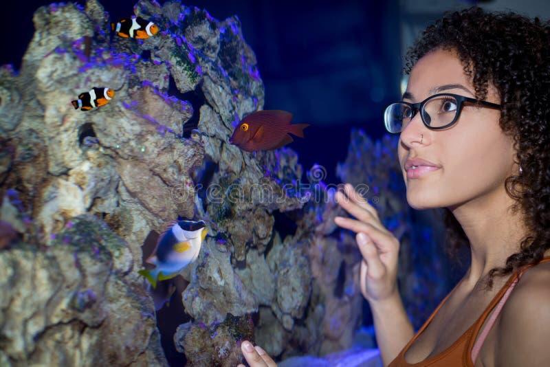 Vrouw die een aquarium onderzoeken royalty-vrije stock afbeelding
