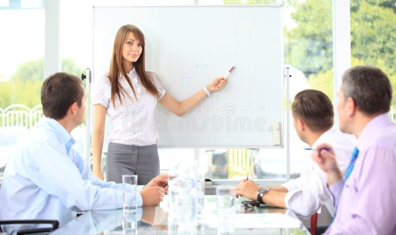 Vrouw die een bedrijfspresentatie maakt stock afbeeldingen