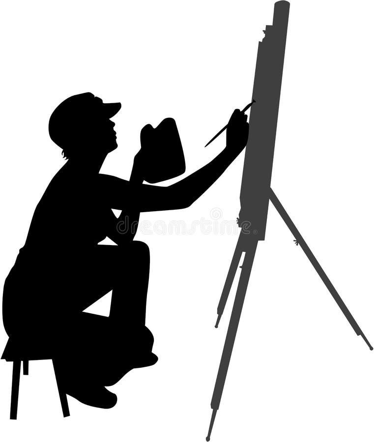 Vrouw die een beeld schildert royalty-vrije illustratie