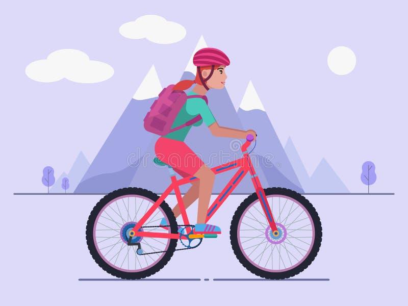 Vrouw die een bergfiets berijden royalty-vrije illustratie